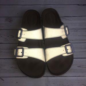 [Madden Girl] Reflective Gray Slide On Sandals